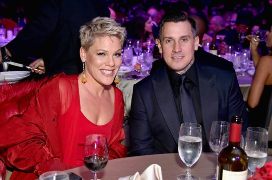 Pink and Carey Hart attend an event in New York on Jan. 27, 2018.