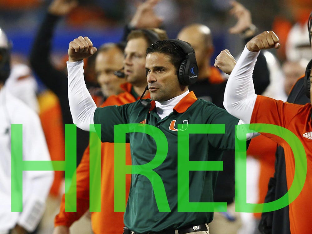"Manny Diaz was hired by Miami. He spent the past three seasons serving as Miami's defensive coordinator. Diaz had actually taken the Temple job earlier in December, but returned to ""The U"" to lead his hometown Hurricanes."