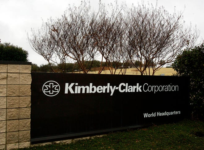 The entrance sign to Kimberly-Clark Corporation world headquarters campus in Irving, Texas, Sunday, Jan. 22, 2006.