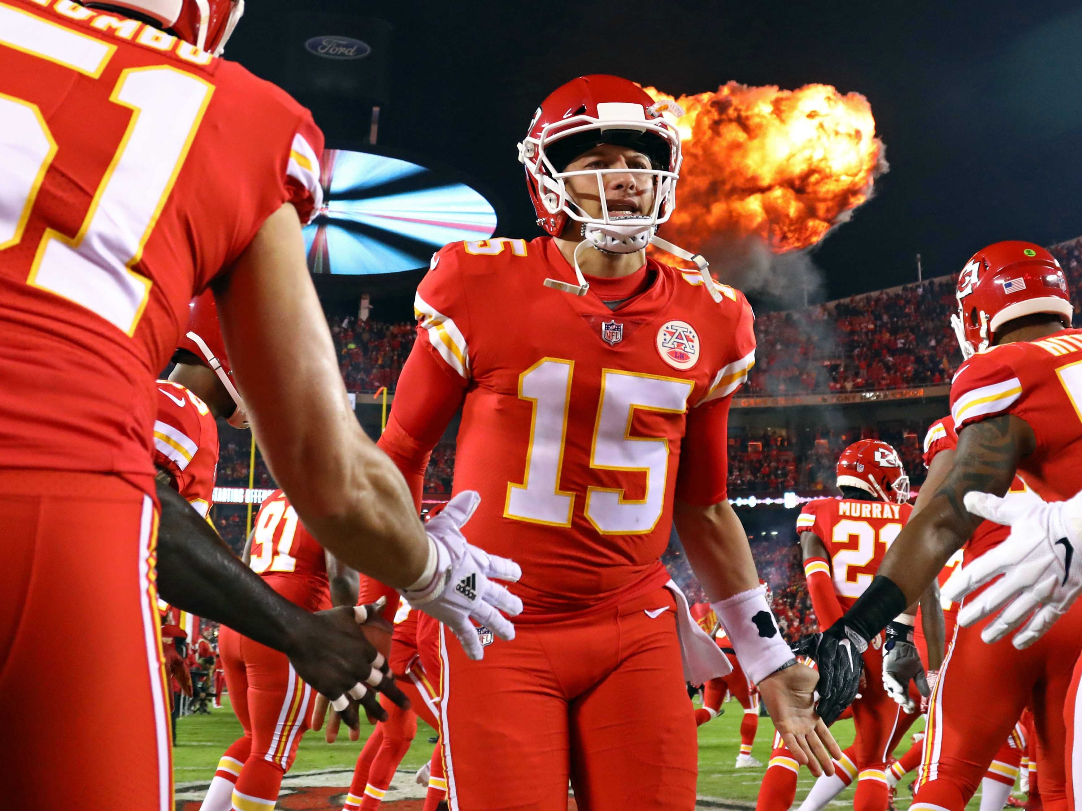 Kansas City Chiefs quarterback Patrick Mahomes takes the field before the game against the Los Angeles Chargers at Arrowhead Stadium.