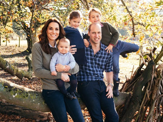 Prince William and Duchess Kate pose with their three children, Prince Louis, Princess Charlotte and Prince George (right) at Anmer Hall in Norfolk, United Kingdom.
