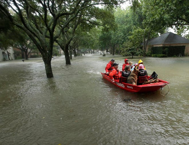 FILE - In this Aug. 28, 2017, file photo, a Coast Guard rescue team evacuates people from a neighborhood inundated by floodwaters from Tropical Storm Harvey in Houston, Texas. Natural disasters in Texas on the scale of Hurricane Harvey's deadly destruction last year will become more frequent because of a changing climate, warns a new report Thursday, Dec. 13, 2018, ordered by Republican Gov. Greg Abbott in a state where skepticism about climate change runs deep. (AP Photo/Charlie Riedel, File)