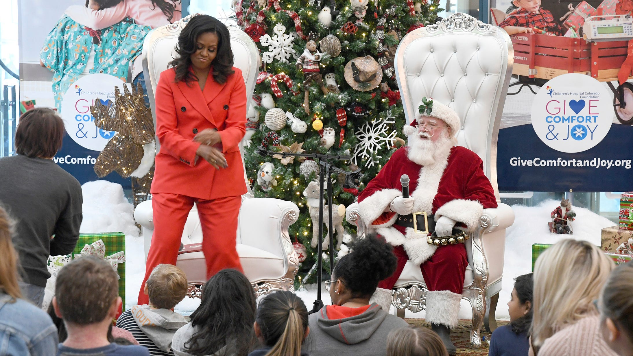 Former first lady Michelle Obama broke down some of her favorite dance moves at the request of a patient at Children's Hospital Colorado Thursday night.