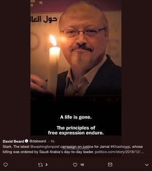 The Washington Post ran this full-page ad of Jamal Khashoggi Friday.