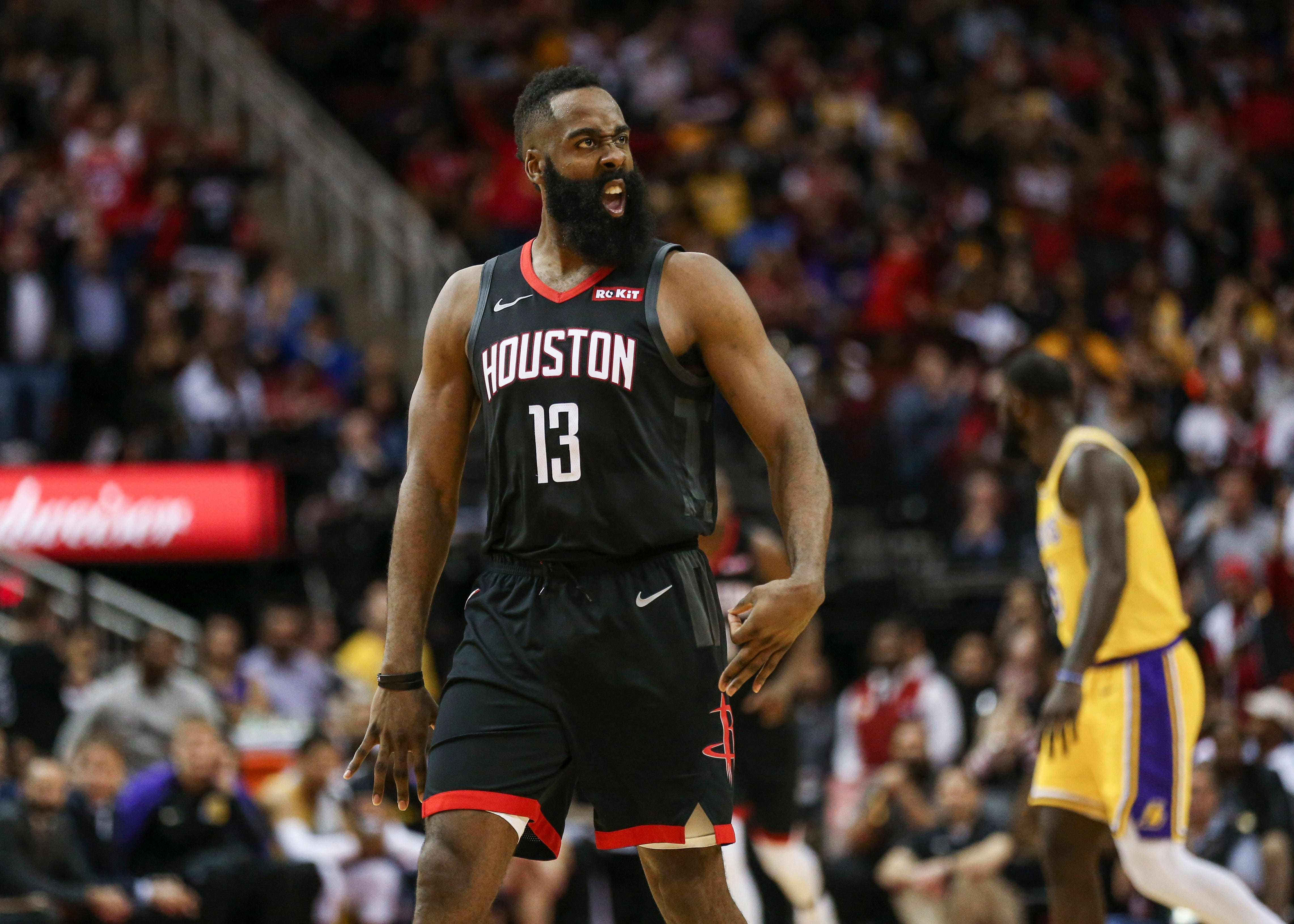 a54fe06ce74 James Harden was fired up after notching his fourth career 50-point  triple-double