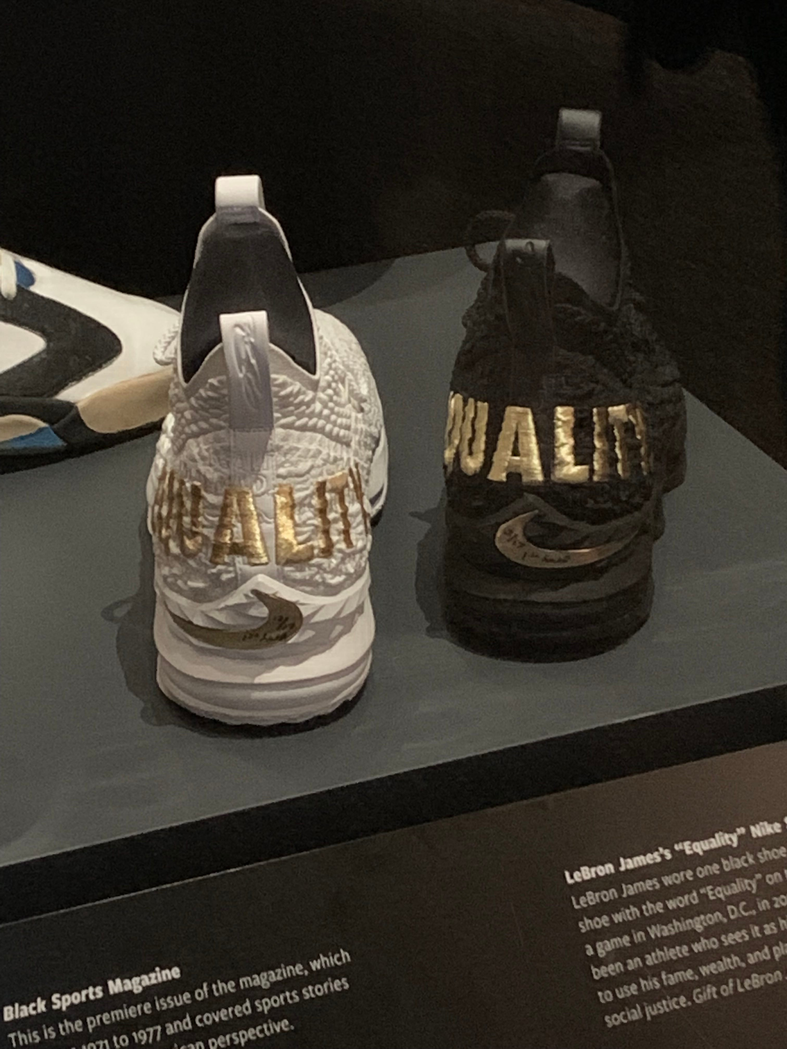 6c6a7b281eff6 LeBron James  game-worn Nike 15 Equality P.E. sneakers on display at the  Smithsonian s