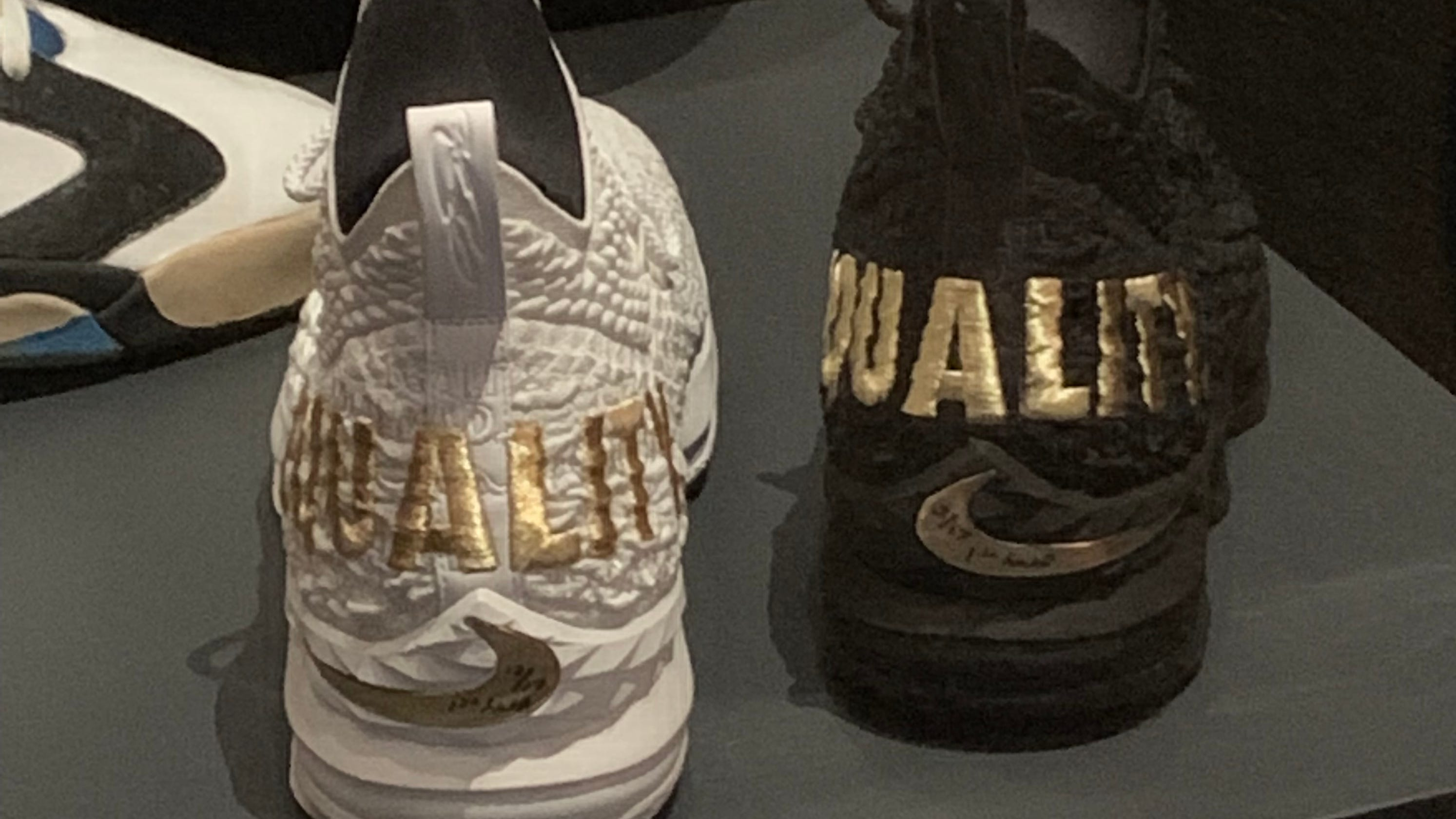 6206fb3f95e LeBron James  His game-worn Equality sneakers on display in museum