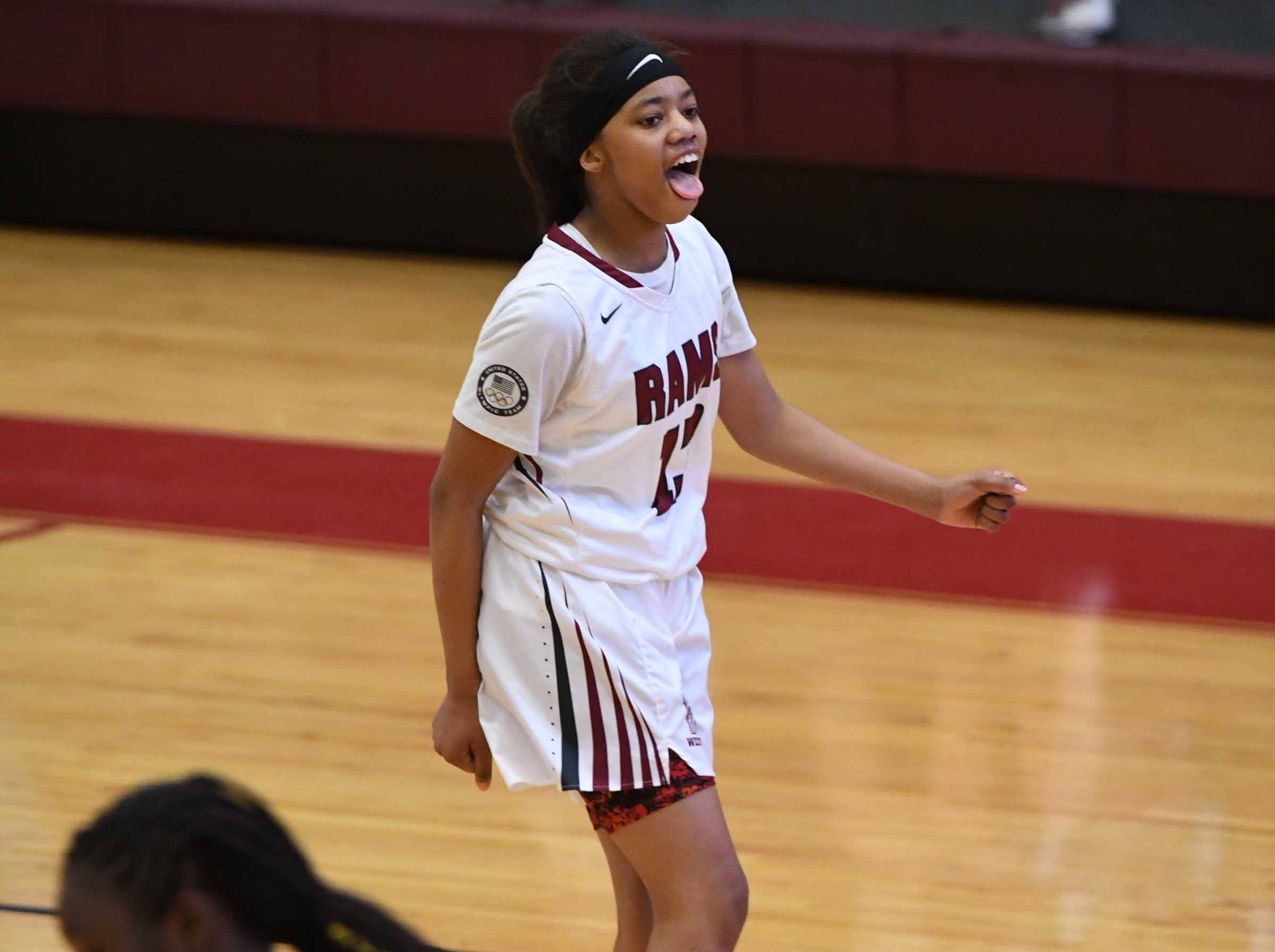 Westside sophomore Khia Pickens(13)reacts after making a shot during the third quarter at Westside High School in Anderson on Friday.