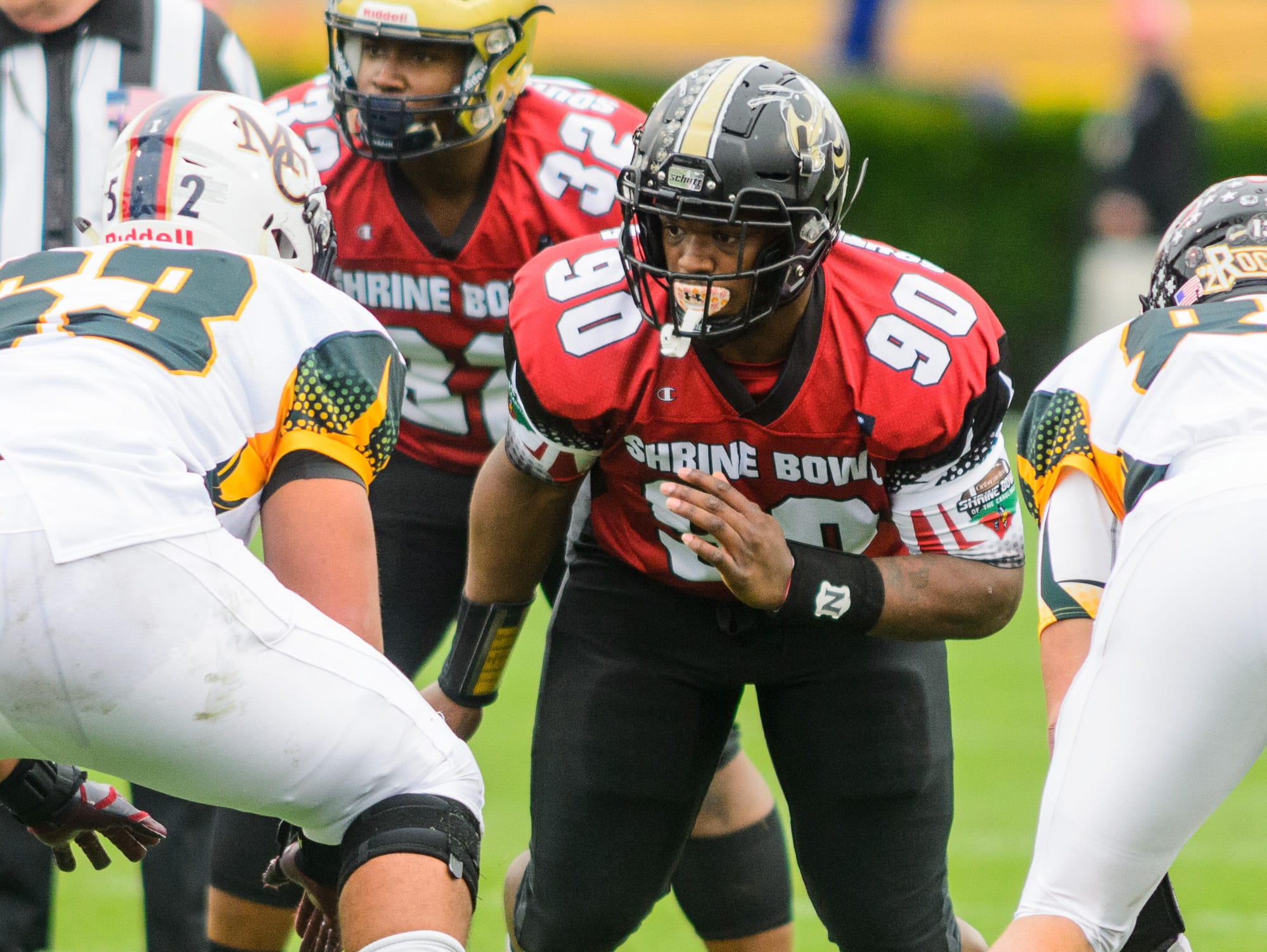 T.L. Hanna defensive lineman Zacch Pickens (90) rushes the quarterback during the 82nd annual Shrine Bowl of the Carolinas on Saturday, December 15, 2018 at Wofford's Gibbs Stadium in Spartanburg, SC.