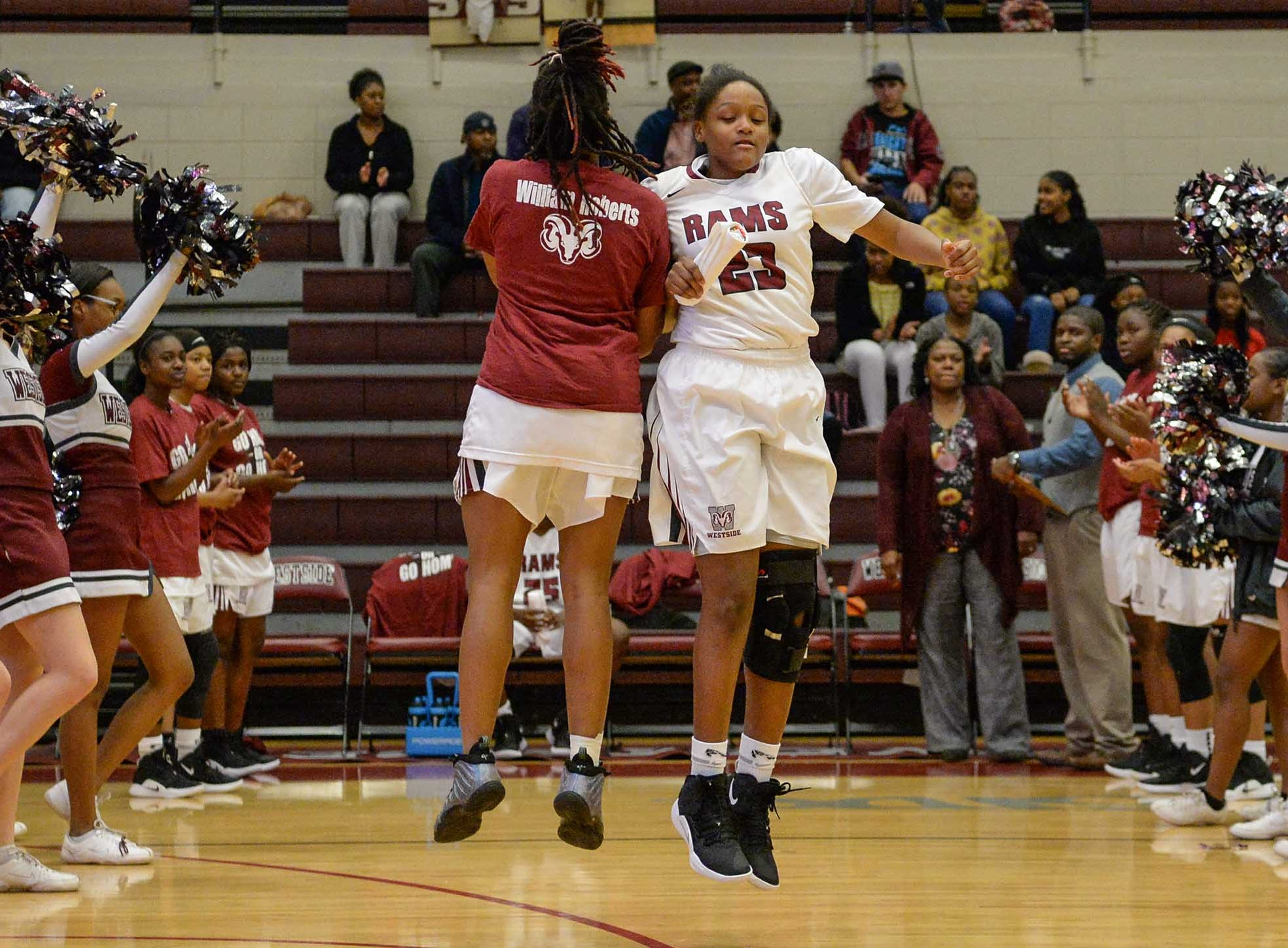 Westside freshman Keazia Hatten(23) is introduced before the game with Easley at Westside High School in Anderson on Friday.