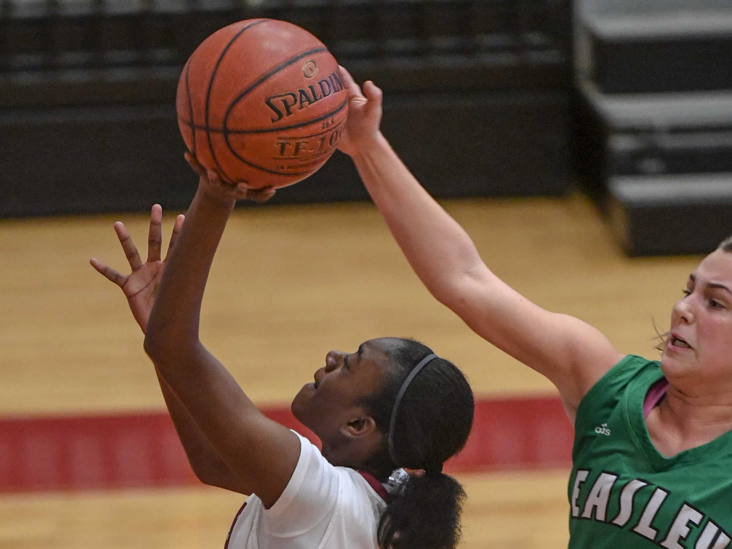 Westside freshman Aziyah Bell(4) has a shot blocked by Easley senior Aubrey Lewis(10) during the third quarter at Westside High School in Anderson on Friday.