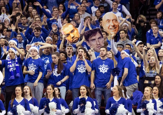 Seton Hall fans get after the Scarlet Knights during second half action. Rutgers Mens Basketball vs Seton Hall at the Prudential Center in Newark, NJ on December 15, 2018.
