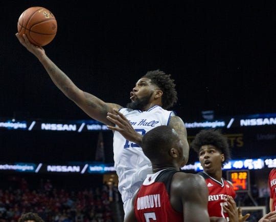 Seton Hall's Myles Powell sails by Rutgers opponents in second half action. Rutgers Mens Basketball vs Seton Hall at the Prudential Center in Newark, NJ on December 15, 2018.