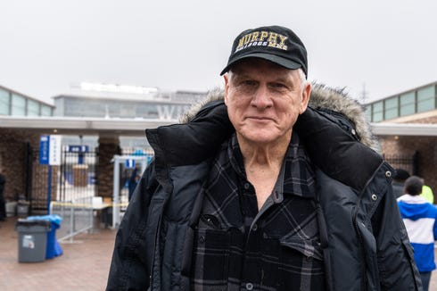 Terry Bayne, of Murphy, and a supporter of the football team, drove solo to their state title game against Pamlico County at Duke University's Wallace Wade Stadium Dec. 15, 2018.