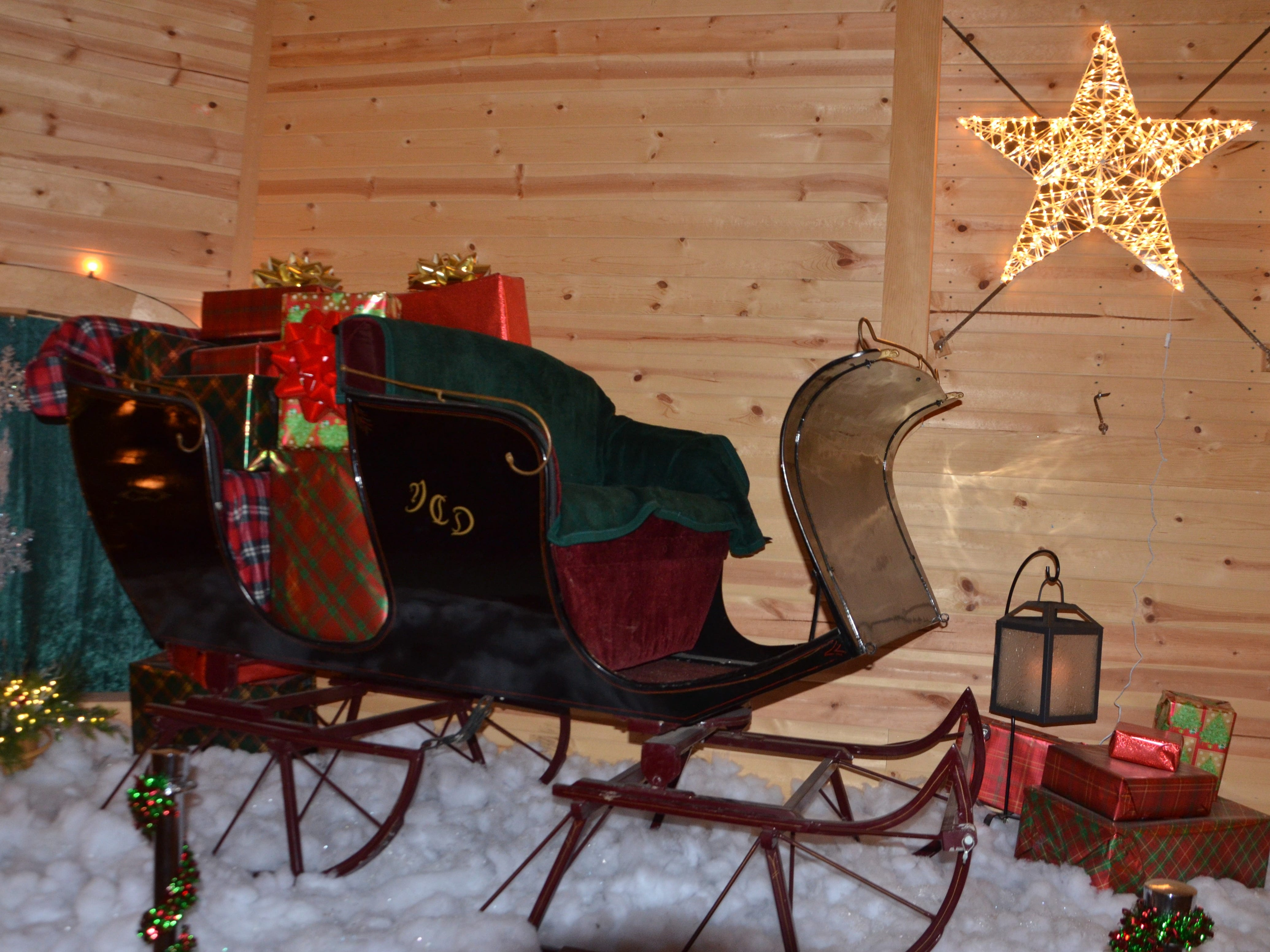 A vintage sleigh on display as part of the Merry Mile at the Calhoun County Fairgrounds in Marshall.