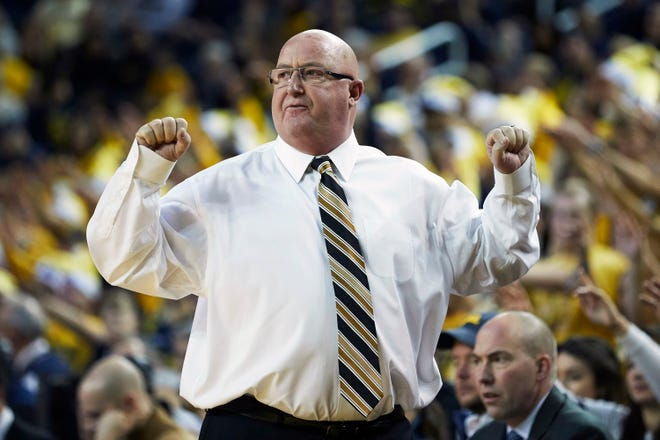 Dec 15, 2018; Ann Arbor, MI, USA; Western Michigan Broncos head coach Steve Hawkins reacts in the first half against the Michigan Wolverines at Crisler Center. Mandatory Credit: Rick Osentoski-USA TODAY Sports