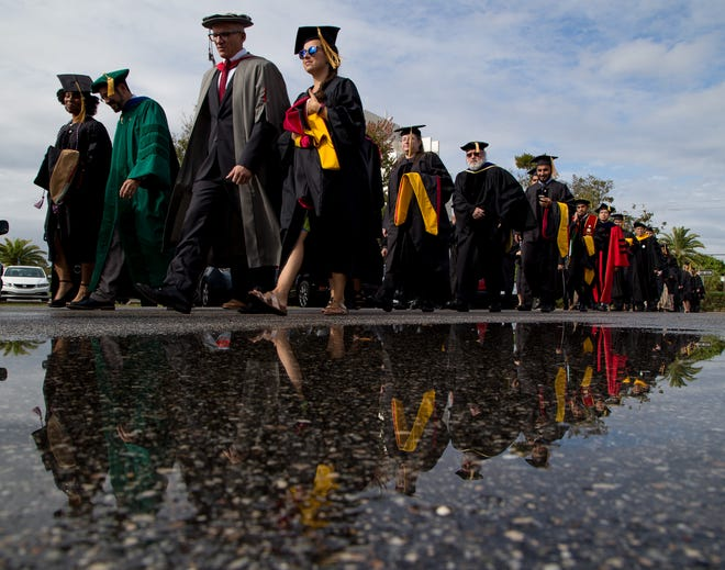 Florida Tech graduates hailed from 30 states — including 182 from Florida — and 60 countries. Saudi Arabia, China and India were among the countries with the highest representation. A total of 427 grads were on hand Saturday.