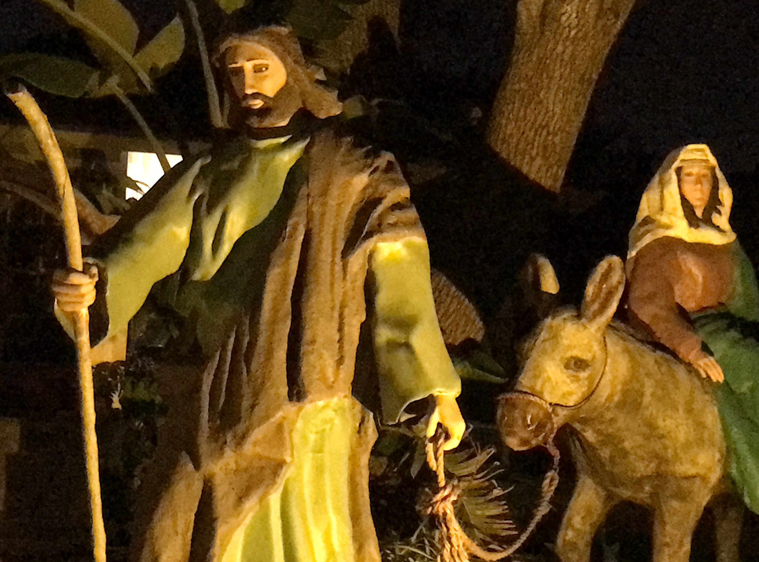 Right across the street of the life-size Nativity scene on 4826 Willowbrook Drive, is a life-size scene of Joseph and Mary.