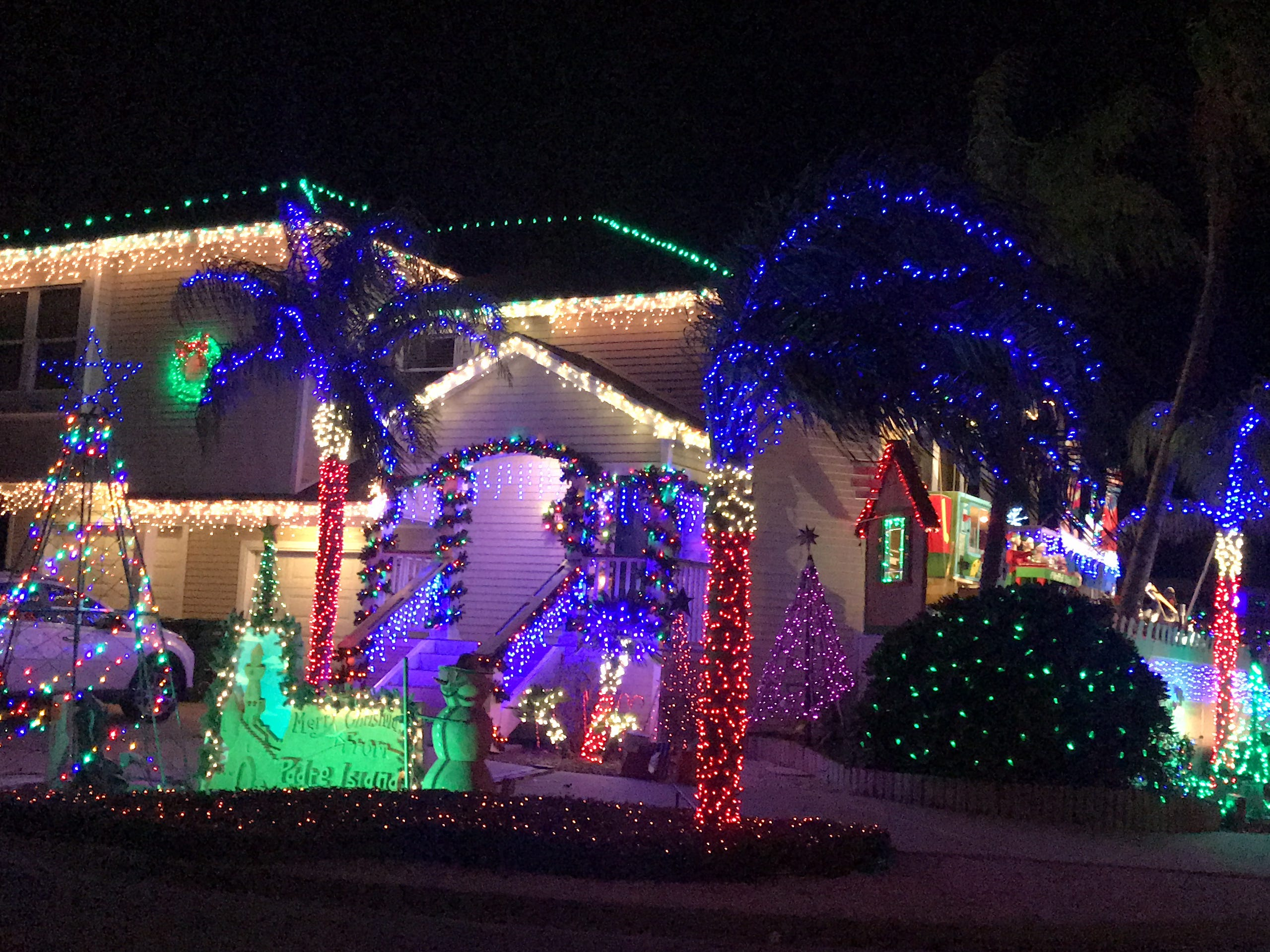 The Mazoch Family Christmas Display features pelicans, a Nativity scene and music on Padre Island.
