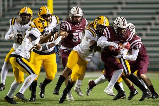 Calallen falls to Fort Bend Marshall 198-17 in the Class 5A Division II state semifinal at Farris Stadium in San Antonio on Friday, Dec. 14, 2018.