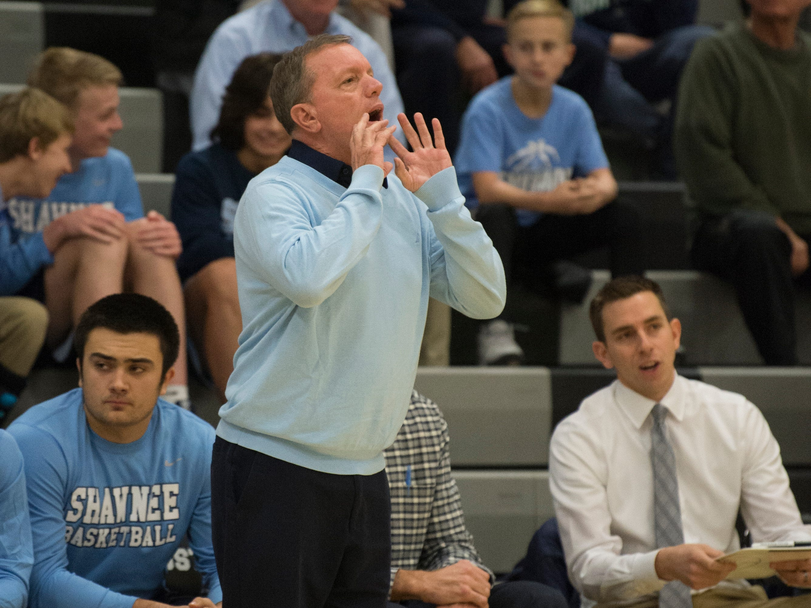 Shawnee boys basketball coach Joe Kessler instructs his players during the 1st quarter of the boys basketball game between Bishop Eustace and Shawnee played at Bishop Eustace High School in Pennsauken on Friday, December 14, 2018.  Bishop Eustace won, 51-35.