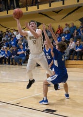 Paint Valley big man Bryce Newland puts up a shot during a 60-55 win over Southeastern at Paint Valley High School in Bainbridge, Ohio during the 2018-19 season.