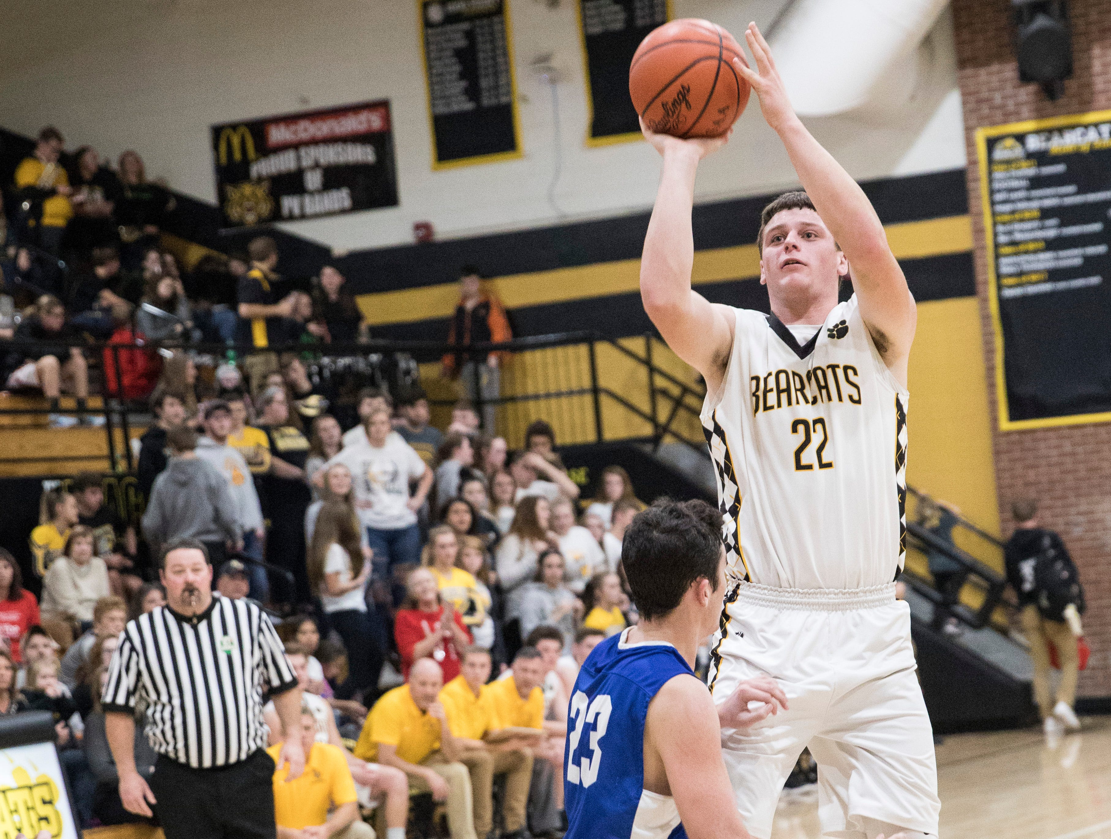 Forward Bryce Newland makes a jump shot to score for Paint Valley during the first half of their game against Southeastern Friday night in Bainbridge, Ohio. Paint Valley defeated Southeastern 60-55.
