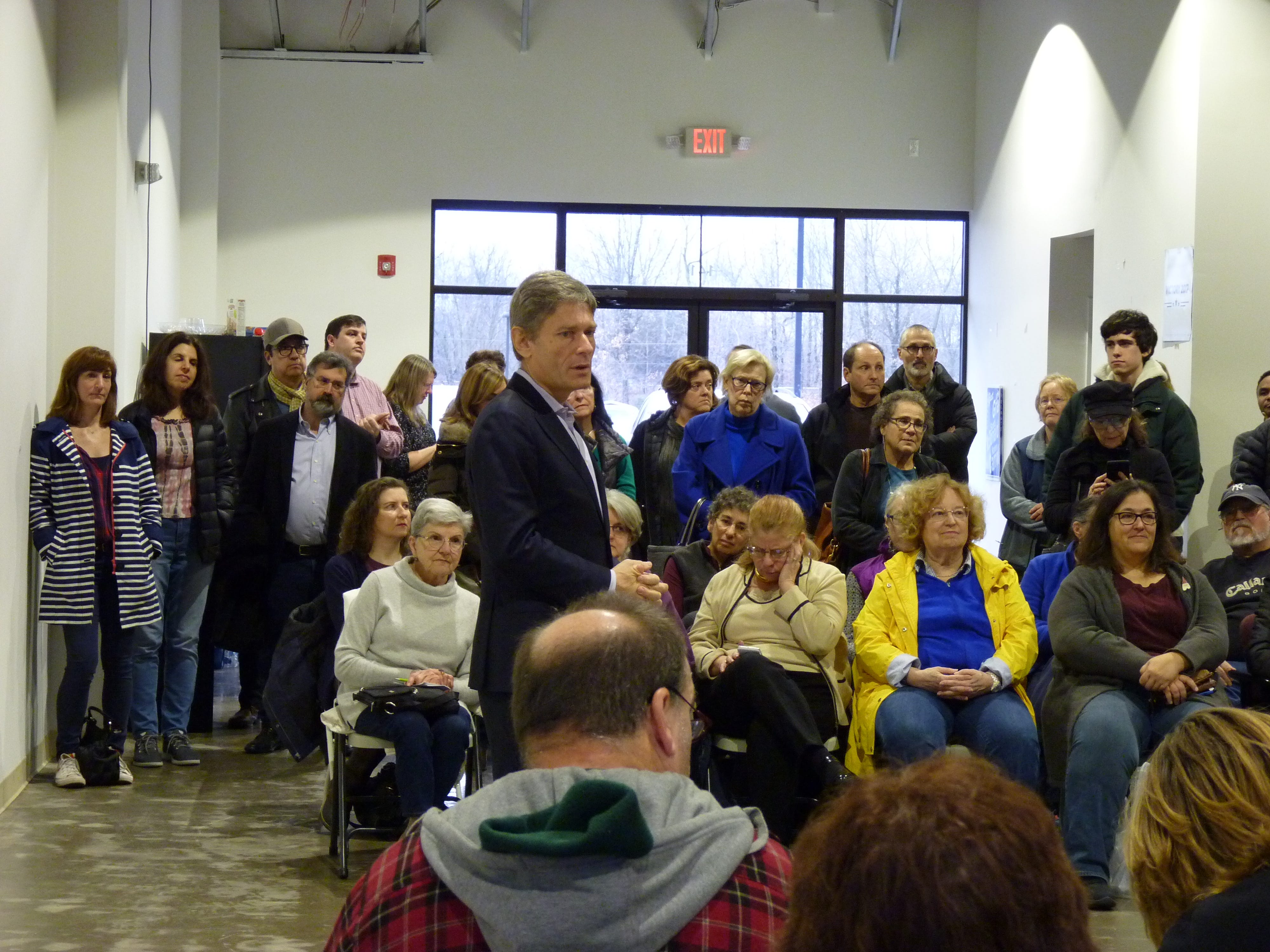 Tom Malinowski holds Somerville town hall    the description for each should be: Congressman-elect Tom Malinowski held a town hall on Saturday, Dec. 15 in Somerville to speak to his constituents on issues regarding transportation, health care, immigration.
