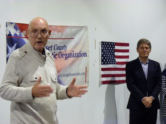 Somerville Mayor Dennis Sullivan and Congressman-elect Tom Malinowski at a Somerville town hall on Saturday, Dec. 15.