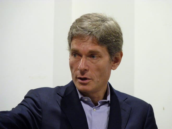 Congressman-elect Tom Malinowski speaking at a Somerville town hall on Saturday, Dec. 15.