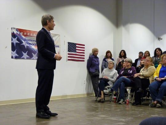 Congressman-elect Tom Malinowski speaking at a Somerville town hall on Saturday, Dec. 15.