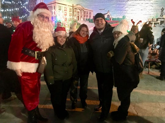 """Linden Superintendent of Schools Danny A. Robertozzi with some of the teachers who took part in """"Caroling for a Cause."""" From left are Santa Claus, also known asSchool No. 5 teacher Kayla Kluse;School No. 5 teacher Vanessa Kennaway,School No. 4 teacher Michelle Schweikardt, and School No. 10 teacher Linda Burt-Moquete."""