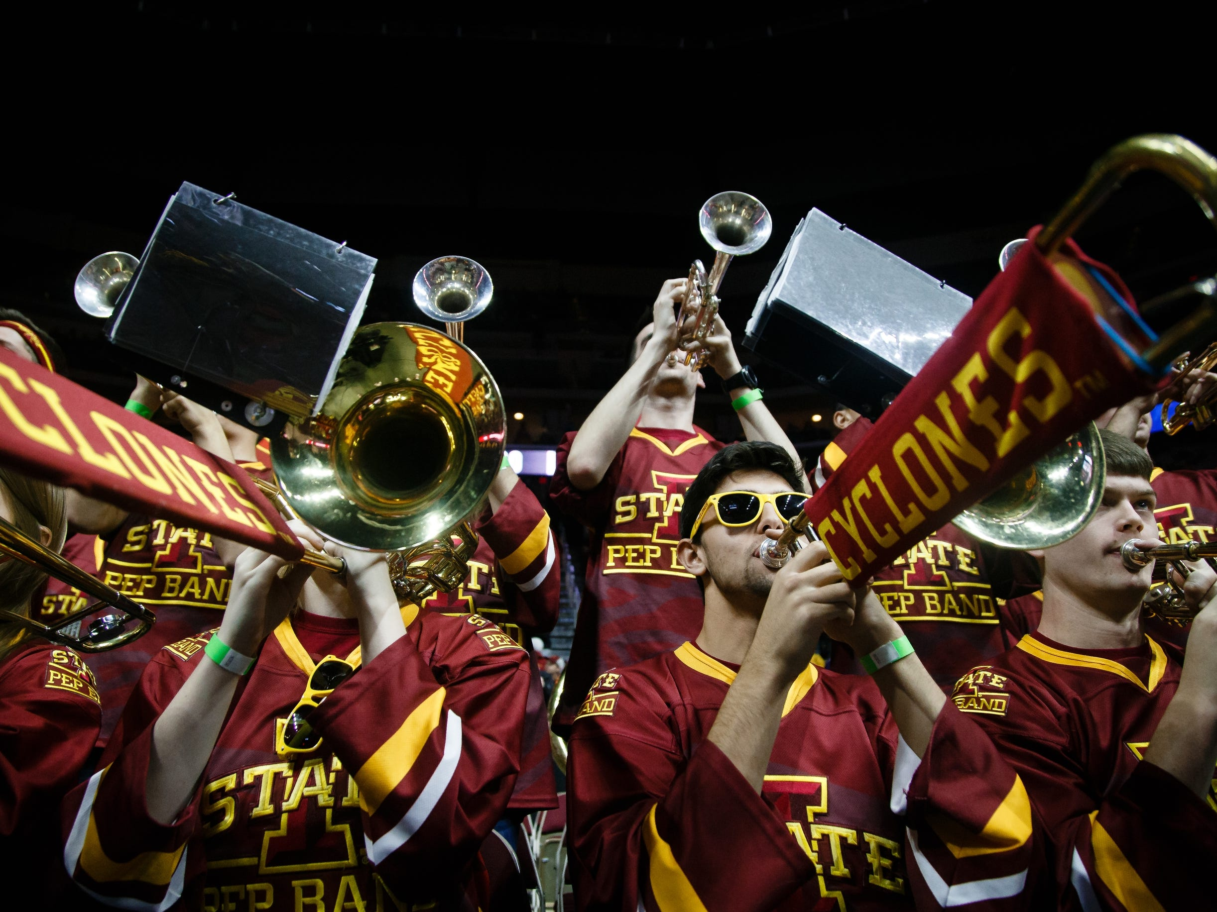 The Iowa State band plays during their basketball game against Drake at the Hy-Vee Classic on Saturday, Dec. 15, 2018, in Des Moines. Iowa State takes a 36-32 lead into the half.