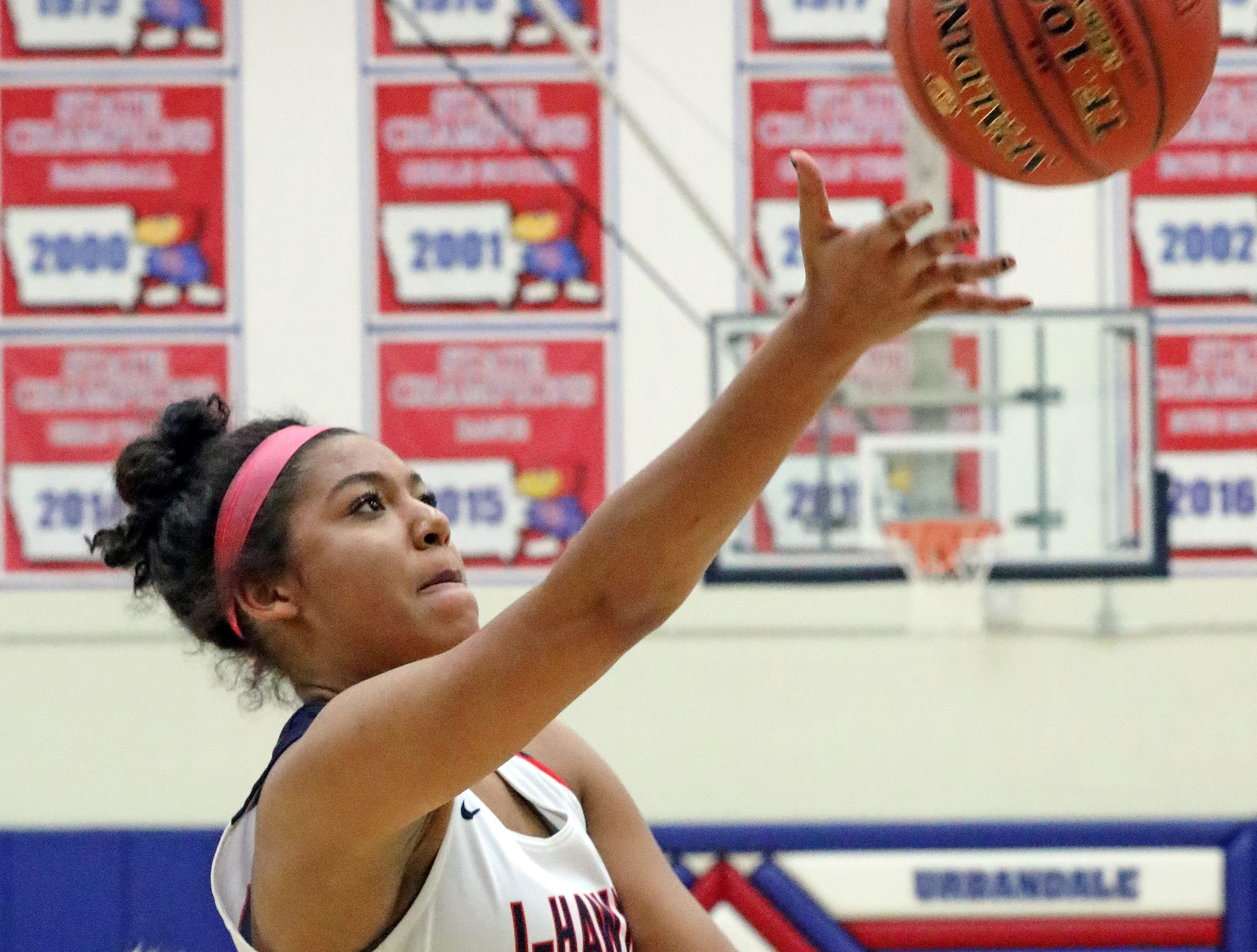 Urbandale freshman forward Jada Gyamfi drives in for another basket as the Ankeny Hawkettes compete against the Urbandale J-Hawks in high school basketball on Friday, Dec. 14, 2018 at Urbandale High School. Ankeny won 46 to 40.