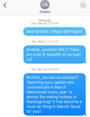 A screenshot of text messages Lin Wang sent to Charles Barkley.