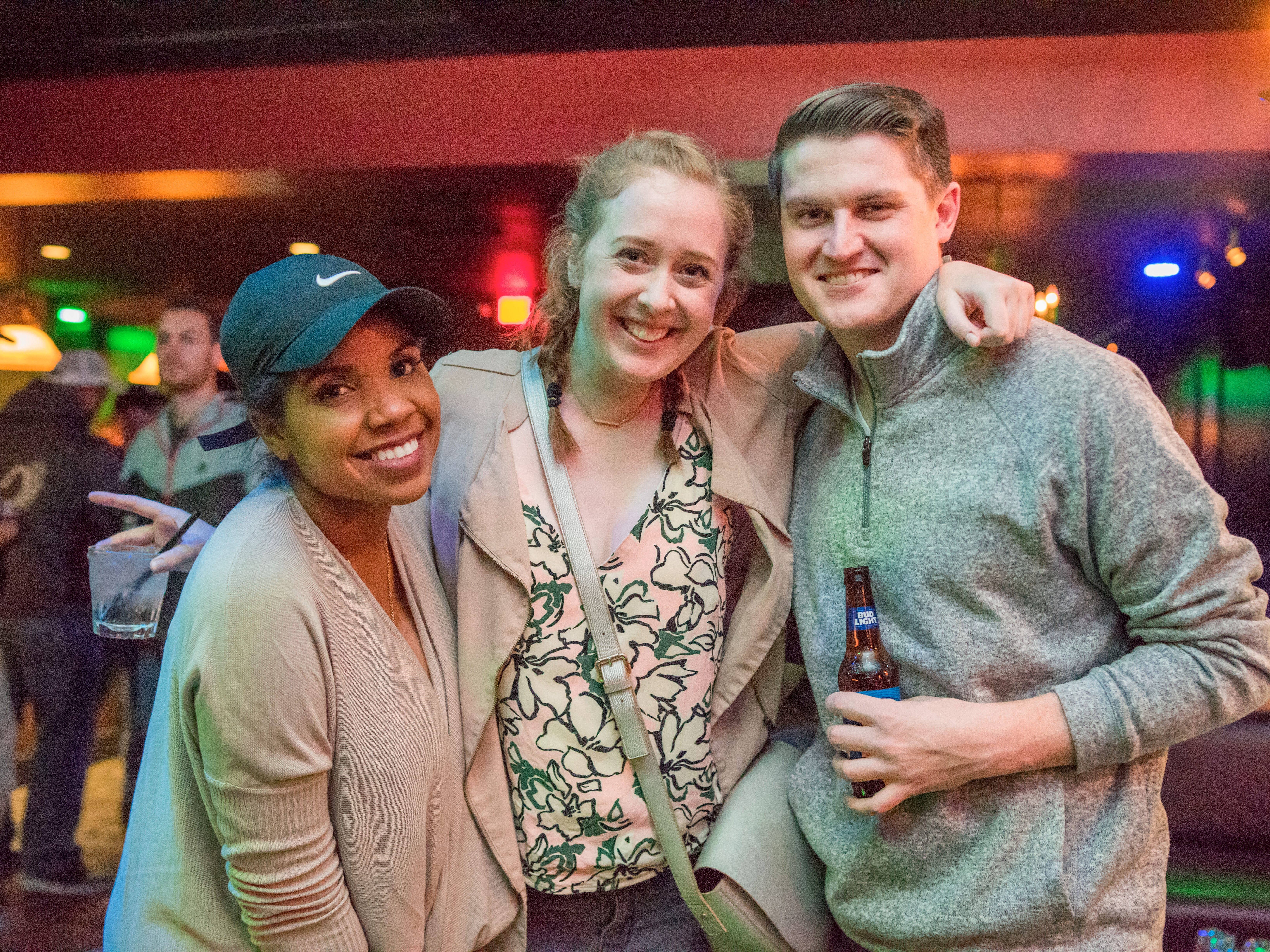 Hannah Hillyard, 27, Dan Molloy, 26, and Rheya Spigner, 26, all of Des Moines, having a great night out,Friday, Dec. 14 at Voodoo Lounge.