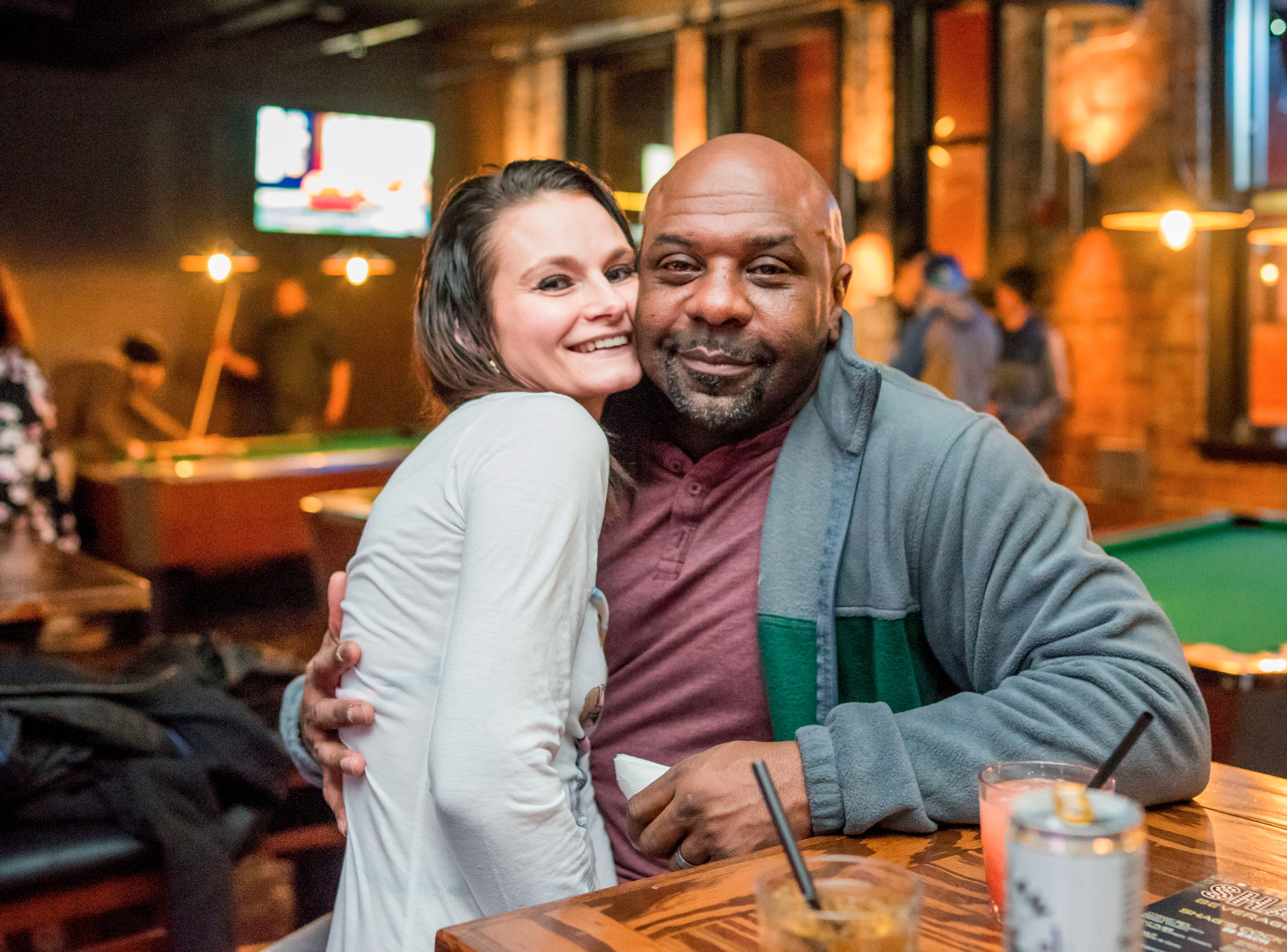 Lola Conway, 34, and David Jones, 44, both of Des Moines, having a fun time, Friday, Dec. 14 at Shags.
