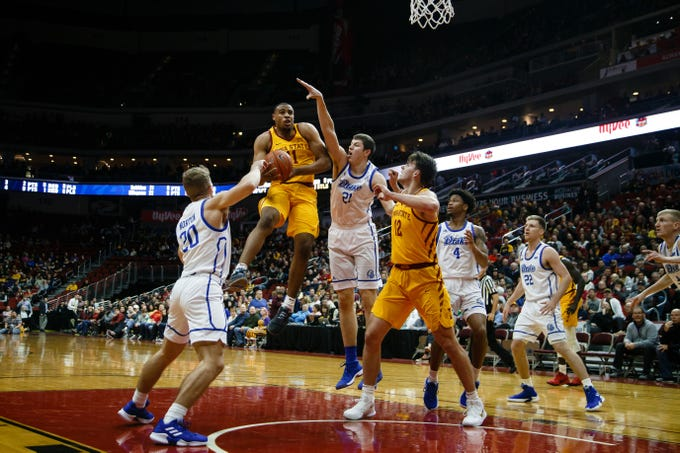 Iowa State's Talen Horton-Tucker goes up for the basket during their game against Drake at the Hy-Vee Classic on Saturday, Dec. 15, 2018, in Des Moines. Iowa State takes a 36-32 lead into the half.