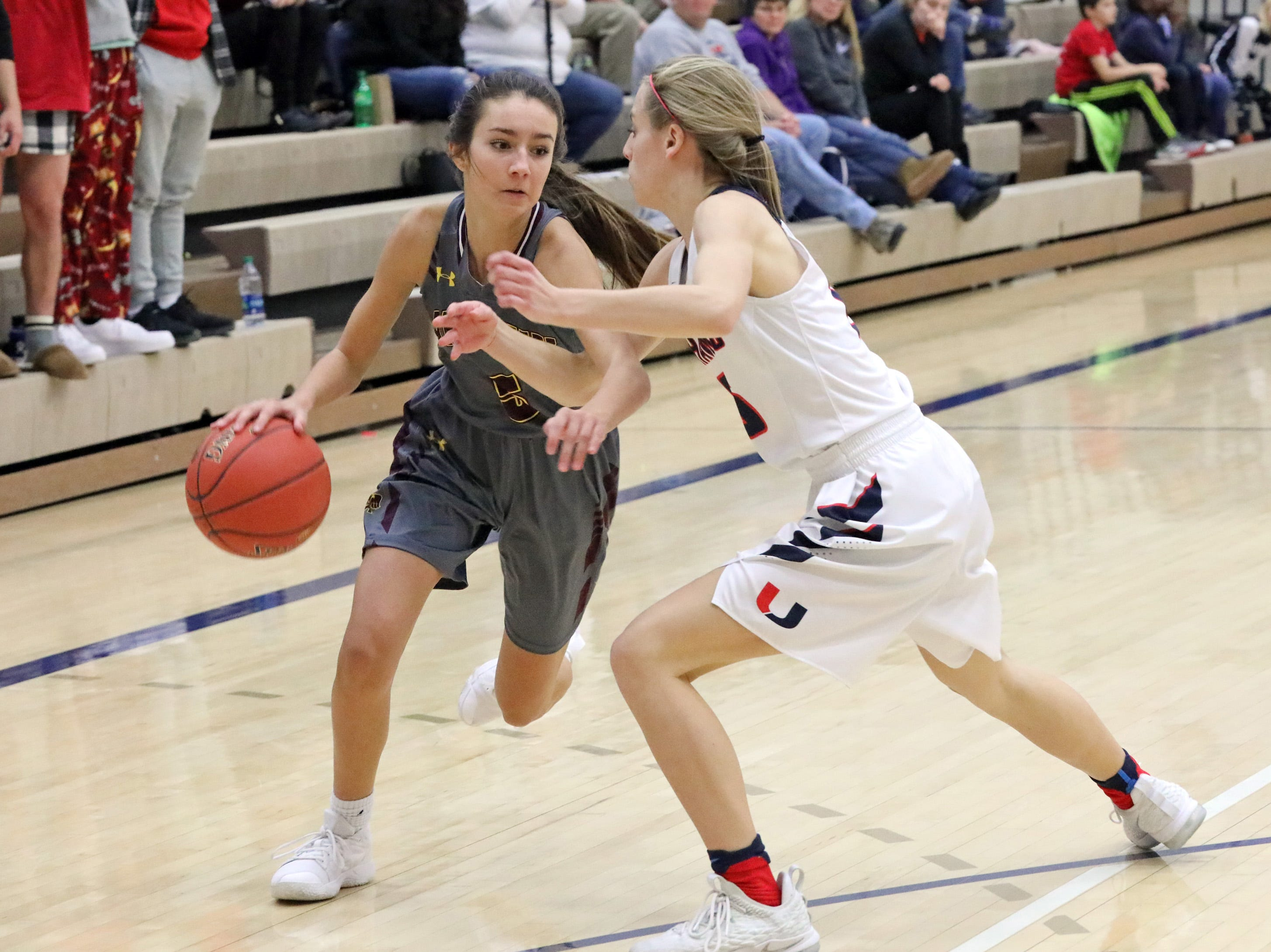 Ankeny junior guard Kayla Pitz  tries to dribble past Urbandale sophomore guard Macy Gaskill as the Ankeny Hawkettes compete against the Urbandale J-Hawks in high school basketball on Friday, Dec. 14, 2018 at Urbandale High School. Ankeny won 46 to 40.