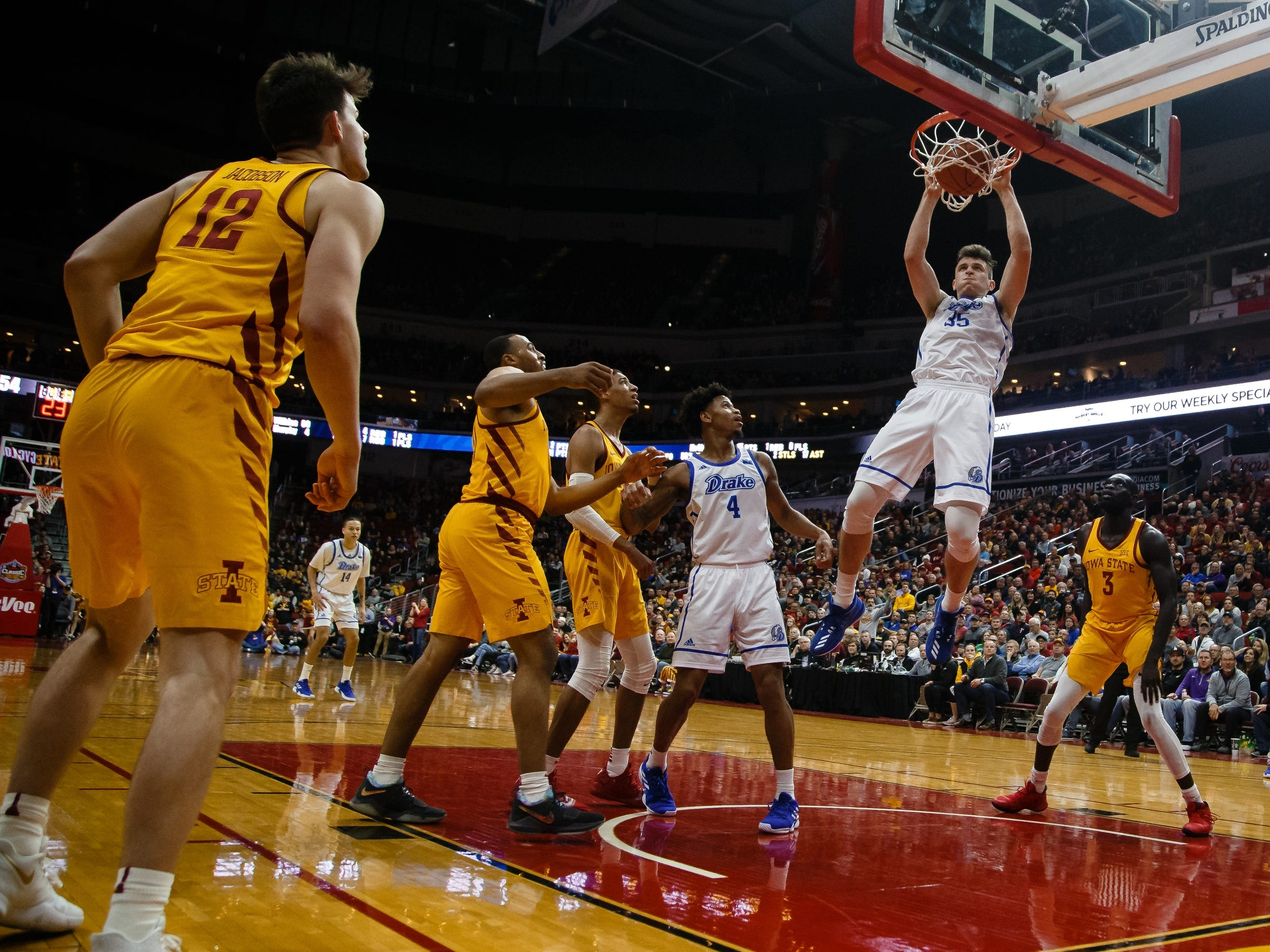 Drake's NickÊMcGlynn (35) dunks the  ball during their basketball game at the Hy-Vee Classic on Saturday, Dec. 15, 2018, in Des Moines. Iowa State would go on to defeat Drake 77-68.