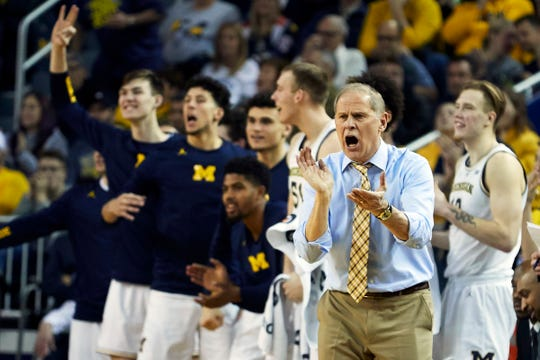 Michigan coach John Beilein reacts to a 3-point basket in the second half of U-M's 70-62 win over WMU on Saturday, Dec. 15, 2018, at Crisler Center.