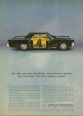 A 1963 Lincoln Continental ad illustrates long-time love of the center-opening doors.