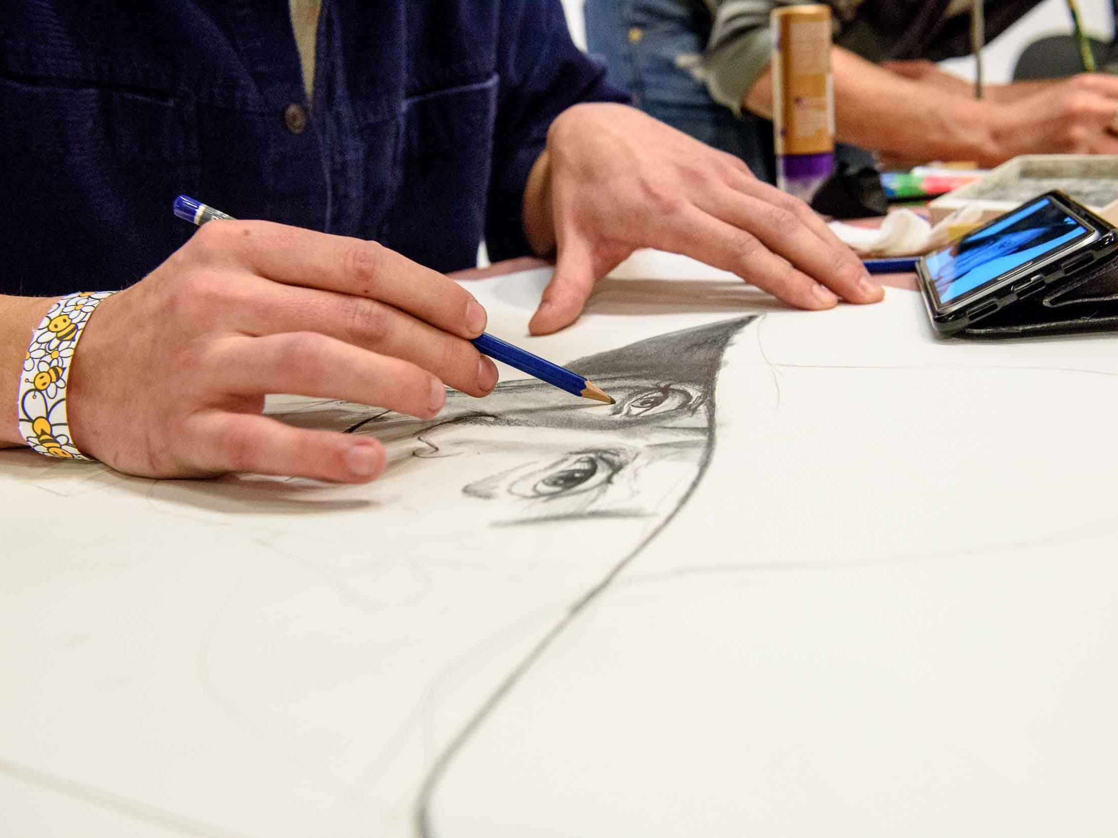 MOCAD's annual public fundraiser Monster Drawing Rally 2018 was held on December 14, 2018. The event consisted of three, one-hour rounds that each feature 100 different Detroit based artists drawing simultaneously. The completed drawings were displayed and available for $40.