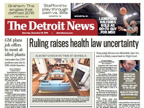 The front page of The Detroit News on Saturday, December 15, 2018.