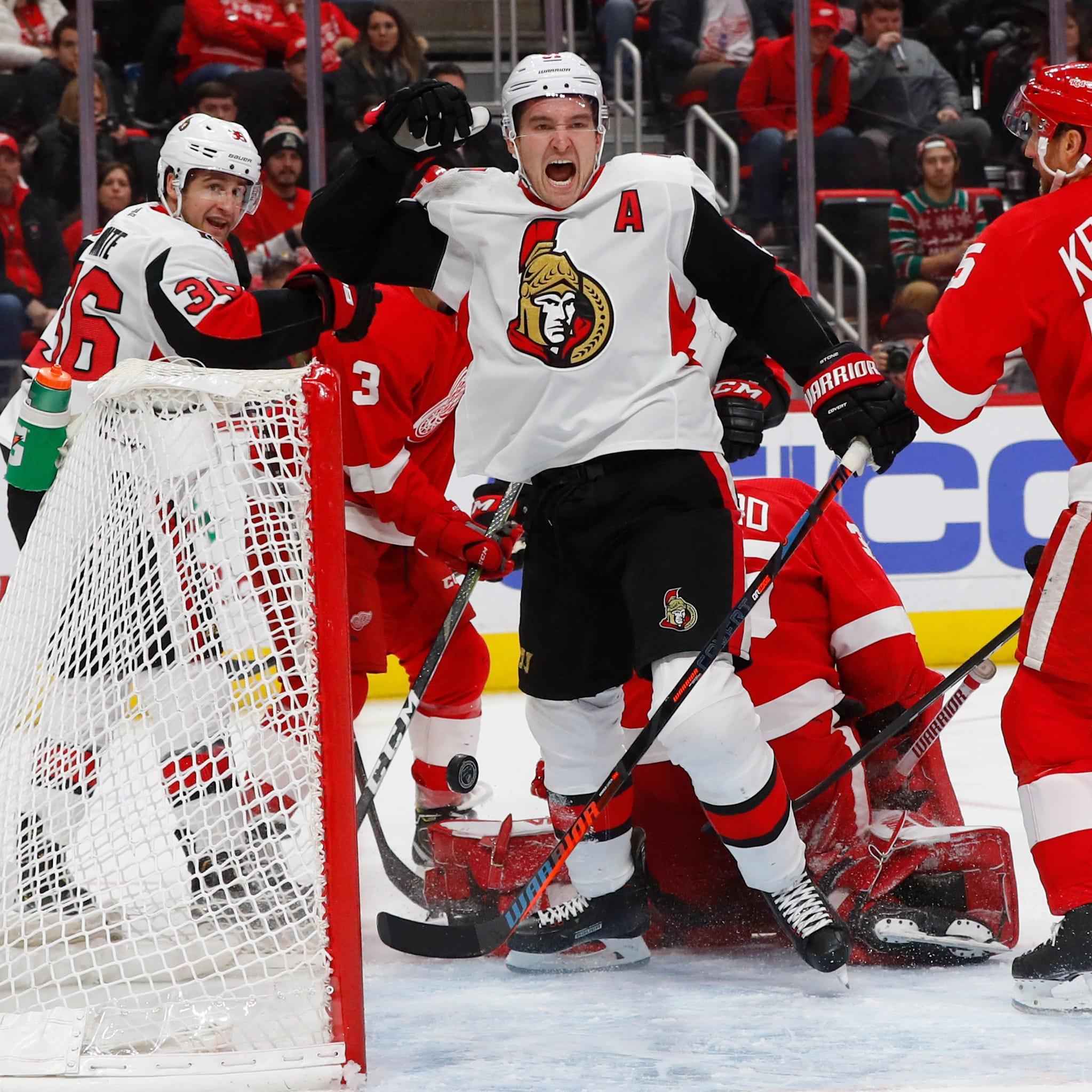 Shorthanded Red Wings fall short vs. Senators