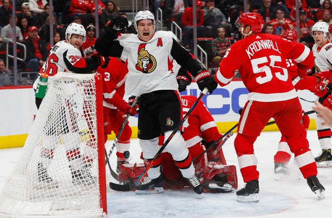 Ottawa Senators right wing Mark Stone (61) celebrates his goal against the Detroit Red Wings in the third period.