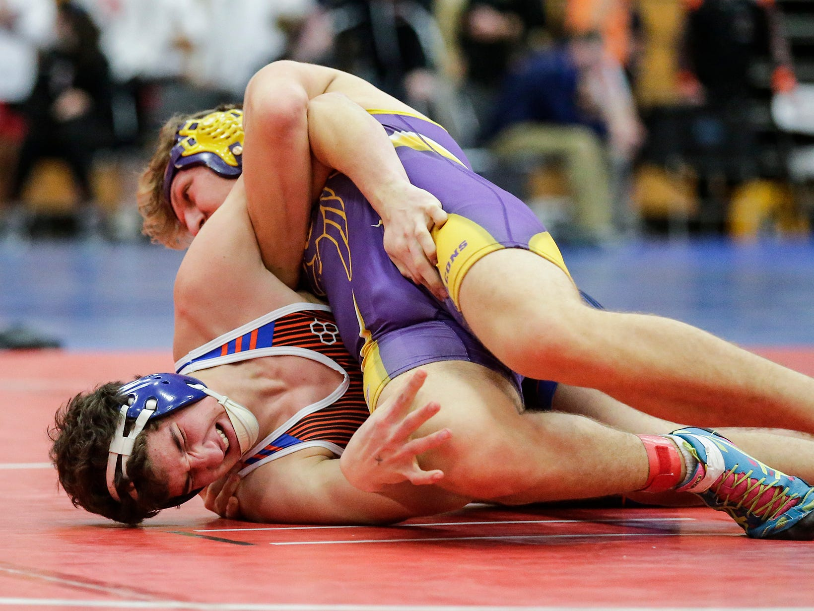 Springs/North Fond du Lac High School wrestling's Jake Koffman wrestles Connor Pierce of Sheboygan Falls High School Saturday, December 15, 2018 in the 195 pound weight class during the Fond du Lac Cardinal wrestling invitational in Fond du Lac, Wisconsin. Pierce won the match by a pin. Doug Raflik/USA TODAY NETWORK-Wisconsin