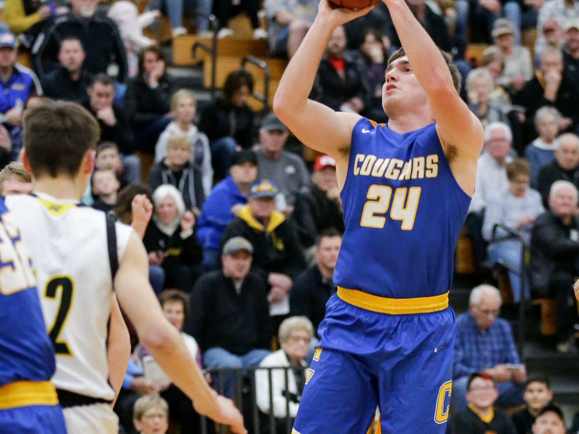 Campbellsport High School boys basketball's Nicholas Narges shoots a basket against Waupun High School during their game Friday, December 14, 2018 in Waupun. Waupun won the game 64-33. Doug Raflik/USA TODAY NETWORK-Wisconsin