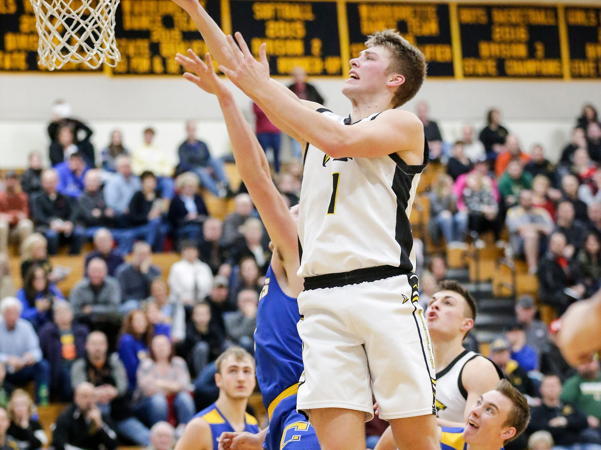 Waupun High School boys basketball's Marcus Domask goes up for a basket against Campbellsport High School during their game Friday, December 14, 2018 in Waupun. Waupun won the game 64-33. Doug Raflik/USA TODAY NETWORK-Wisconsin