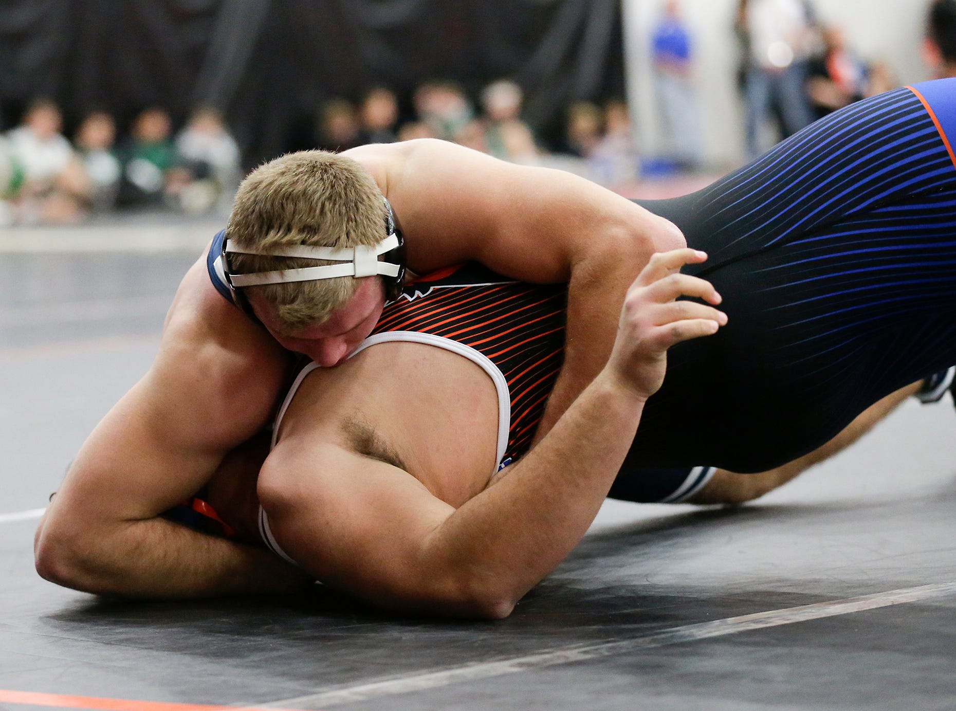 Springs/North Fond du Lac High School wrestling's Avery Hull wrestles Max Meeuwsen of  Bay port High School Saturday, December 15, 2018 in the 285 pound weight class during the Fond du Lac Cardinal wrestling invitational in Fond du Lac, Wisconsin. Meeuwsen won the match with a pin. Doug Raflik/USA TODAY NETWORK-Wisconsin